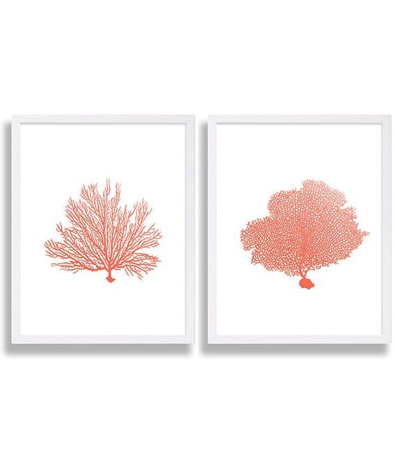 Coral Wall Art Prints Coral Color Decor Coral Prints Water Color