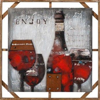Schilderij wijn 100x100 3d elementen