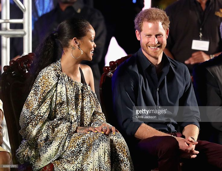 Prince Harry and singer Rihanna attend a Golden Anniversary Spectacular Mega Concert at the Kensington Oval Cricket Ground on day 10 of an official visit to the Caribbean on November 30, 2016 in  Bridgetown, Barbados. Prince Harry's visit to The Caribbean marks the 35th Anniversary of Independence in Antigua and Barbuda and the 50th Anniversary of Independence in Barbados and Guyana.  (Photo by Chris Jackson/Getty Images)