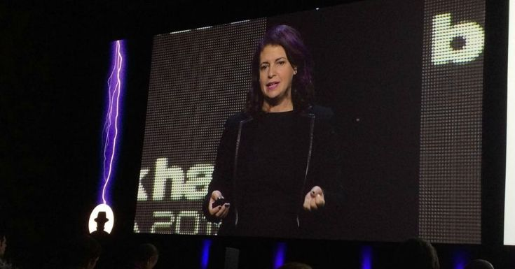 "Jennifer Granick, addressing security professionals at the annual Black Hat conference in Las Vegas on August 5, said ""the Four Horsemen of the Infocalypse: terrorists, pedophiles, drug dealers, and money launderers"" are allowing the government to push for even more regulation and control of the Internet. (Photo: Lily Hay Newman via Slate)"