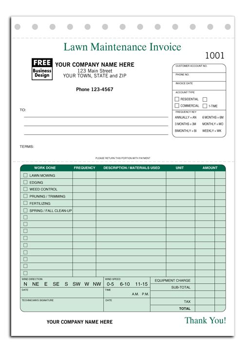 lawn care maintenance invoice proposal work order form