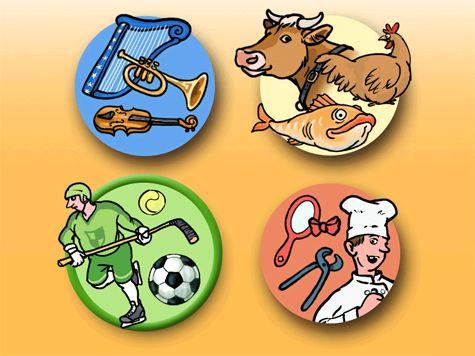 Happenings är ett trycka-bygga program med kategorierna musik, djur, sport och yrken. I varje kategori finns 8 olika miljöer att bygga upp. När en miljö är uppbyggd hörs musik eller ljudillustrationer.