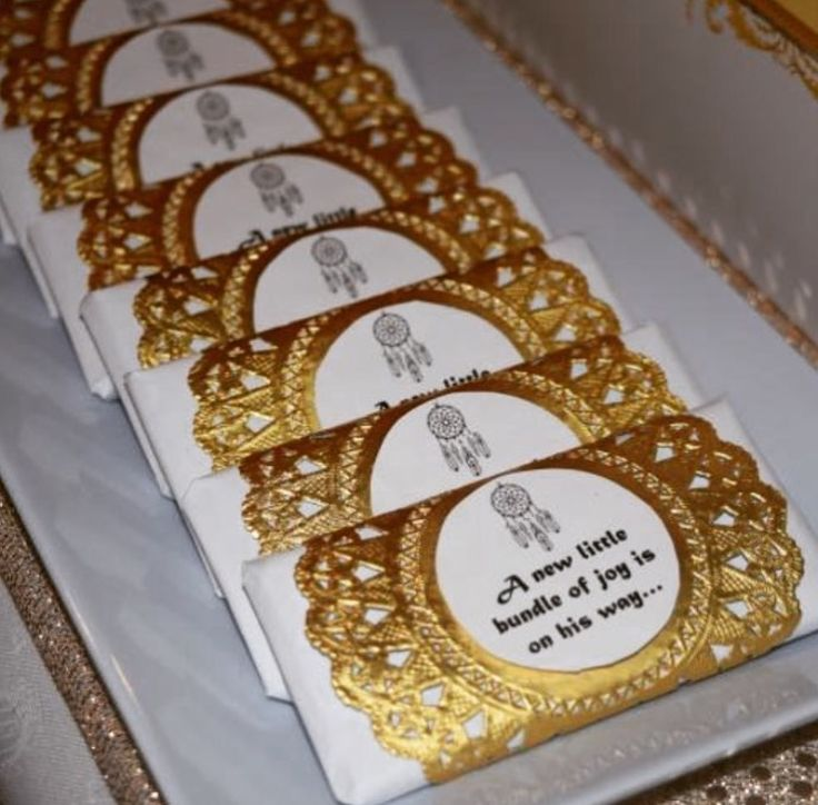 Gold and white boho baby shower high tea personalised chocolate bars as bonbonierre - styled by www.tickledpinkcelebrations.com.au