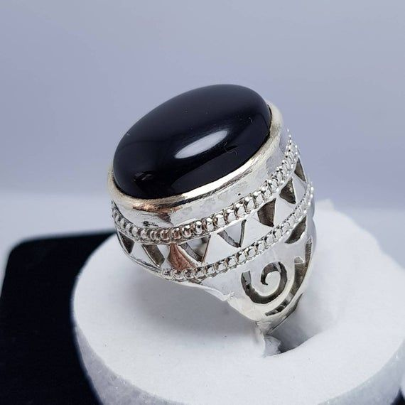 Rare Sterling Silver 925 Men Ring floral natural real green agate aqeeq stone