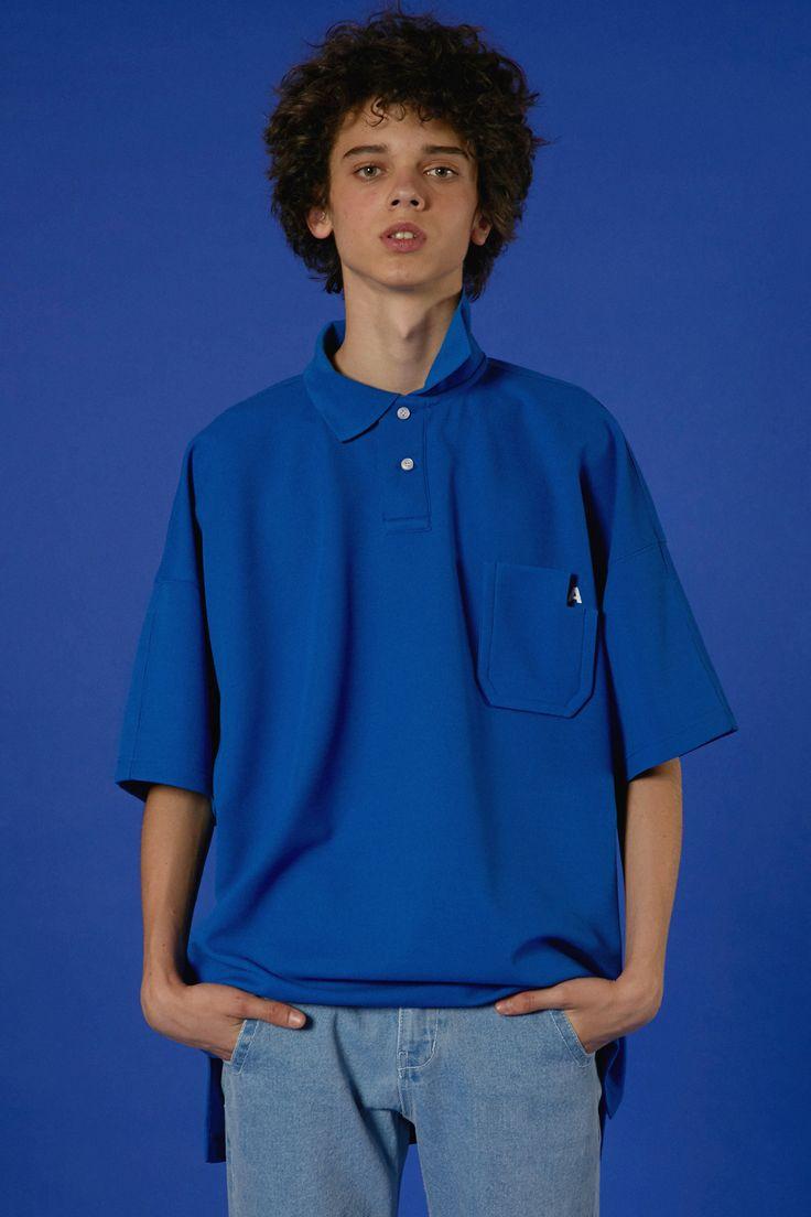 ADER styling Cut pocket pique polo shirt blue denim pants #ader #adererror #styling #wit #mixmatch #knit #pink #denim #cap
