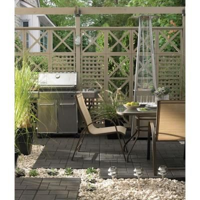 Envirotile 18 in. x 18 in. Gray/Black Rubber Cobblestone Paver-MT5000695 at The Home Depot