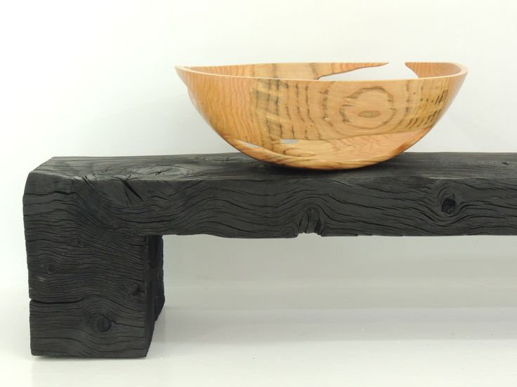 charred pinoak bench with pinoak sculptural bowl by Andrew Early