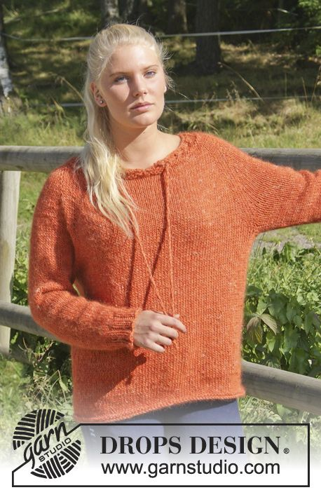 """Knitted DROPS jumper with raglan, eyelet holes and string, worked top down in """"DROPS ♥ YOU #4"""" or """"Nepal"""". Size: S - XXXL. ~ DROPS Design"""