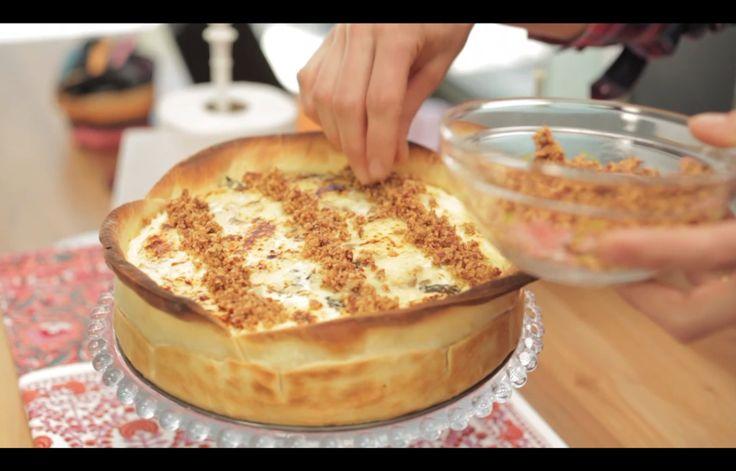 Cheesecake salado de pollo, espinaca y champiñones