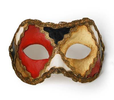 Traditional and original papier-mache Venetian mask, handmade and decorated with acrylics colors, gold-leaf and trimming. This traditional