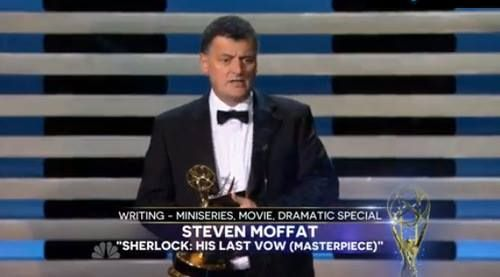 SO PROUD OF YOU MOFF!!!!  Won his first Emmy-Outstanding Writer for a Miniseries for Sherlock: His Last Vow!!!