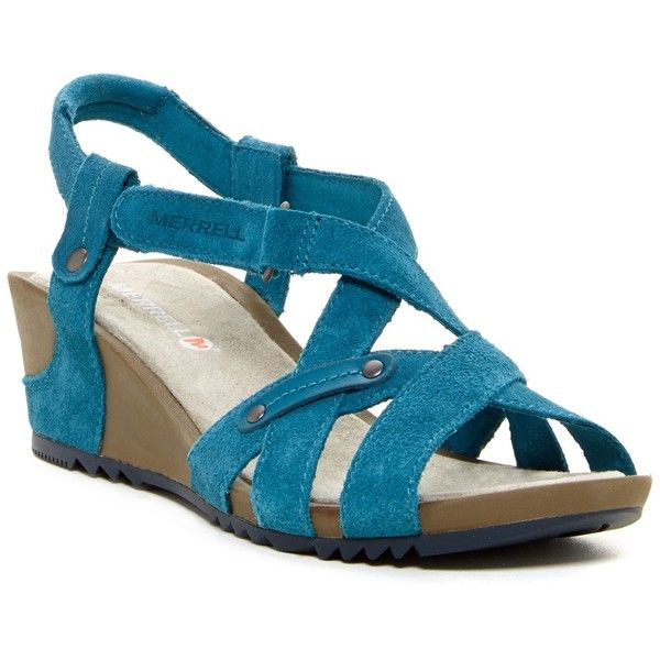 Merrell Revalli Cross Wedge Sandal ($60) ❤ liked on Polyvore featuring shoes, sandals, dragonfly, studded sandals, merrell sandals, strappy wedge sandals, strappy sandals and wedge heel sandals