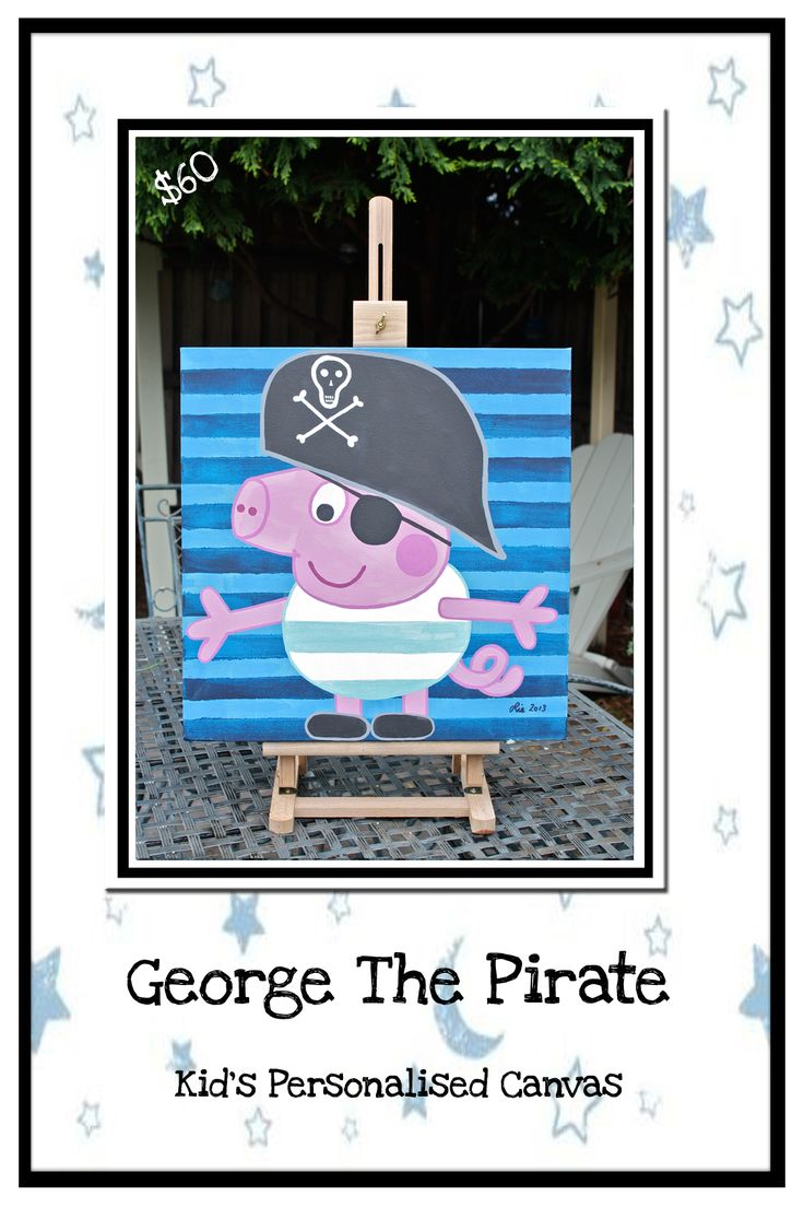 George The Pirate:  Personalised Kid's Art.  Acrylic on canvas.