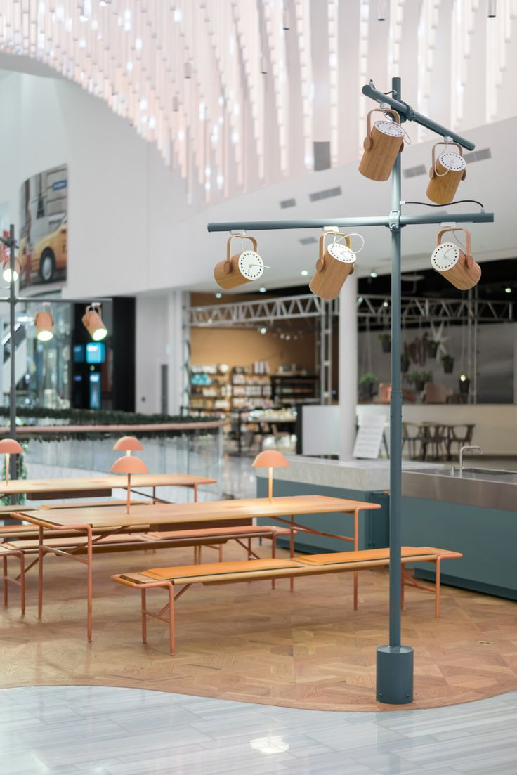 "The ""Dining Theatre"" a area we designed for the newly opened Mall of Scandinavia.  The area is versatile and flexible, and showcase a number of cooking units, whom can be used all together or as single units, placed in different variations to suite the various types of events that will take place within the Dining Theatre. The expression is nordic elegance, with a playful undertone."