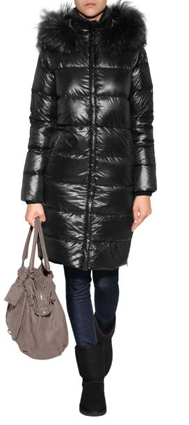 DUVETICA Deneb Down Coat with Fur Trim in Black