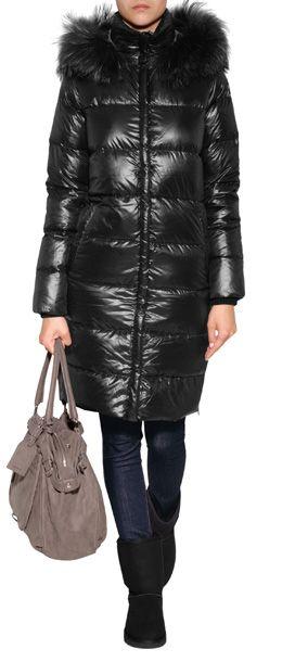 DUVETICA Deneb Down Coat with Fur Trim in Black