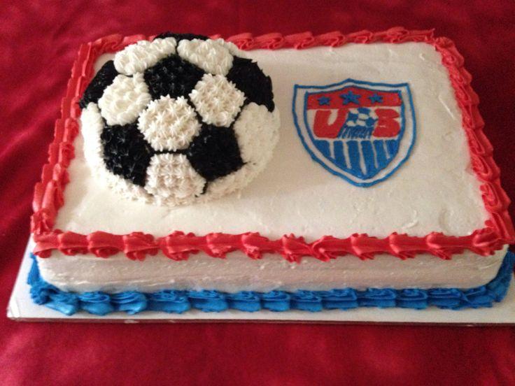 Soccer Ball Cake - Red Velvet, Vanilla Marble Sheet Cake with Soccer Ball Cake on top. Vanilla Buttercream Filling (Blue) and Frosting.