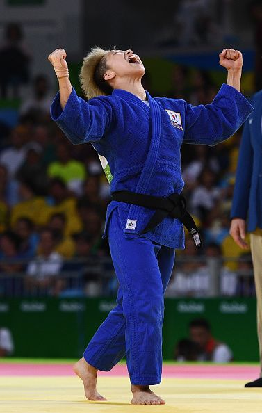 #RIO2016 Best of Day 1 - Bokyeong Jeong of Republic of Korea celebrates after defeating Urantsetseg Munkhbat of Mongolia in the Women's 48 kg Judo on Day 1 of the Rio 2016...