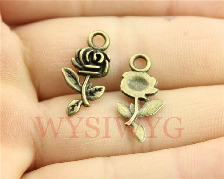 WYSIWYG 10pcs  21mm vintage antique bronze plated flower charms