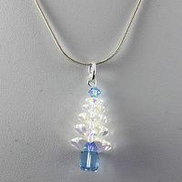 Crystal Christmas Tree Pendant - Crystal AB & Aquamarine