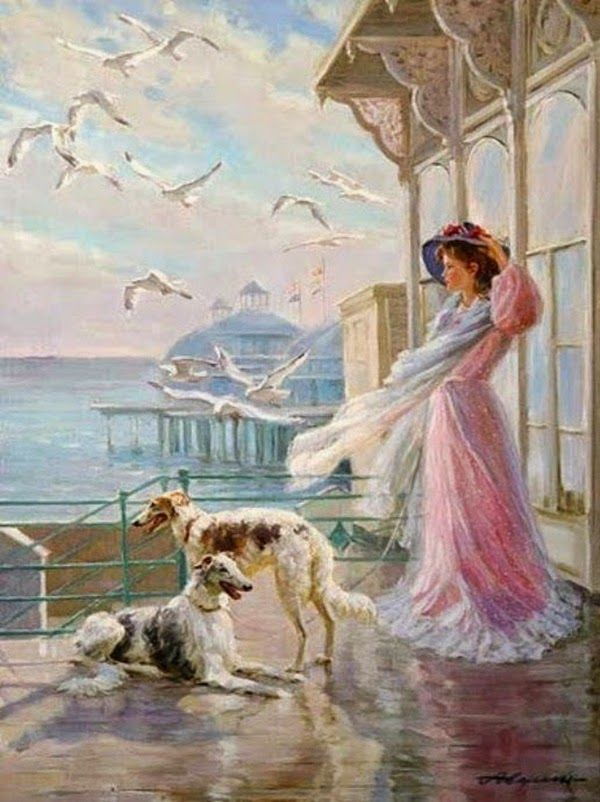 ~ Alexander Averin: A Windy Day with Borzois and Seagulls
