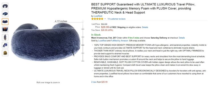 The support from this thick pillow is amazing!  Best neck pillow ever!  Get it here - http://www.amazon.com/dp/B0140WVQPG/