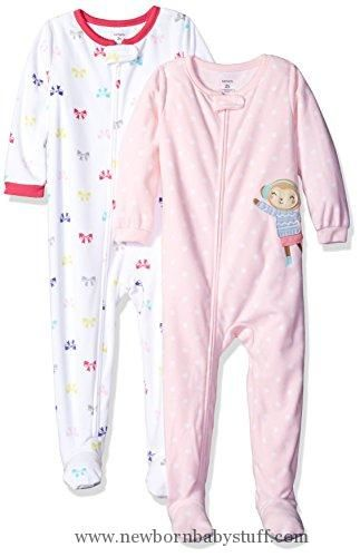 Baby Girl Clothes Carter's Baby Girls' Toddler 2-Pack Fleece Pajamas, Bows/Monkey, 4T