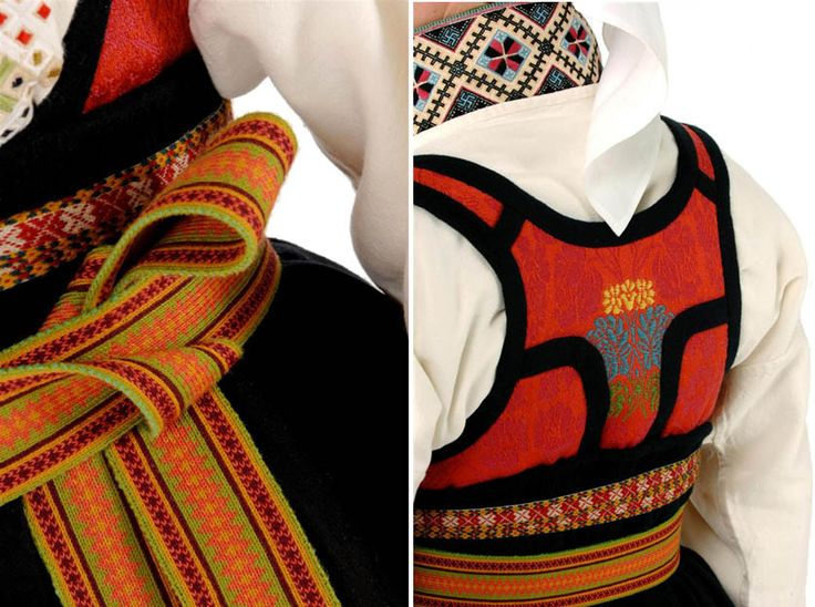 Bunad, Norwegian folk costume. Red is always prominent in these costumes, where most of the work is done by hand.