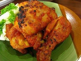 Ayam cincane, spicy roasted chicken specialty of East Kalimantan