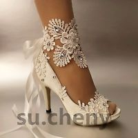 "3"" 4"" heel white ivory satin lace ribbon open toe Wedding shoes bride size 5-9.5"