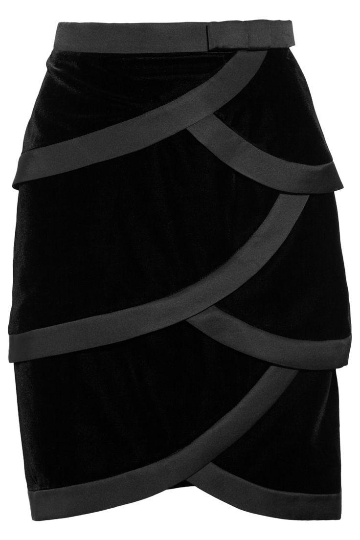 Satin-trimmed tiered silk-velvet skirt by Valentino