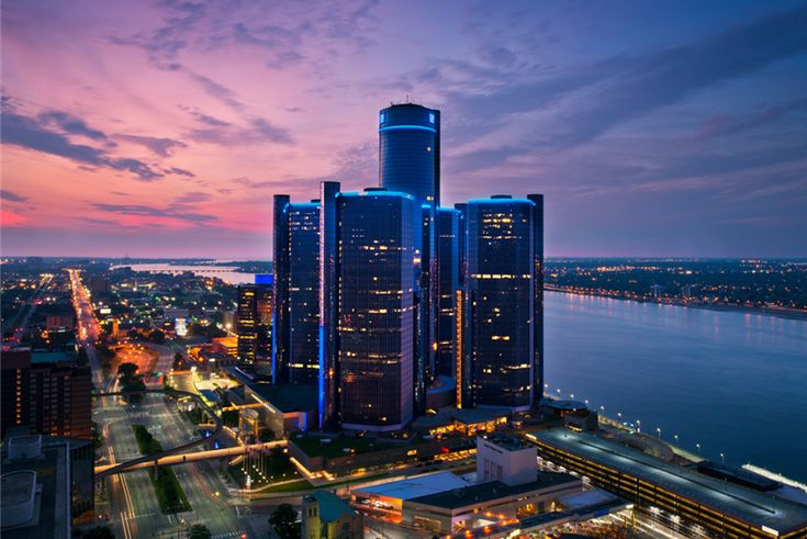 The Renaissance Center is a group of seven interconnected skyscrapers in Downtown Detroit, Michigan, United States. Located on the International Riverfront, the Renaissance Center complex is owned by General Motors as its world headquarters.