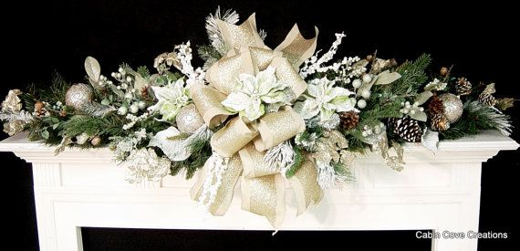 Christmas Mantel Swag Garland ELEGANT soft colors Mint Sage Gold Snow flocked Poinsettias VERSATILE  Holiday design by Cabin Cove Creations