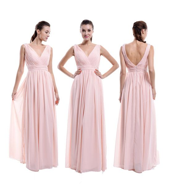 Pearl Pink V neck V back  Bridesmaid Dress A-line par harsuccthing
