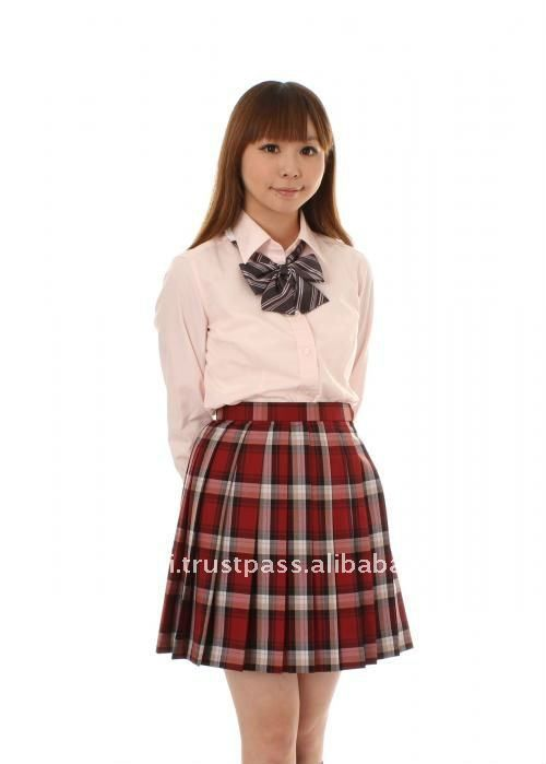 6d64ffb6c Japanese school uniform design skirt with pleated, red check pattern ...