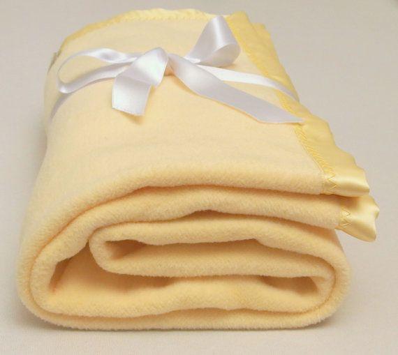 Yellow Cotton Fleece Baby Blanket Unisex Soft by VirgoCottonLinen