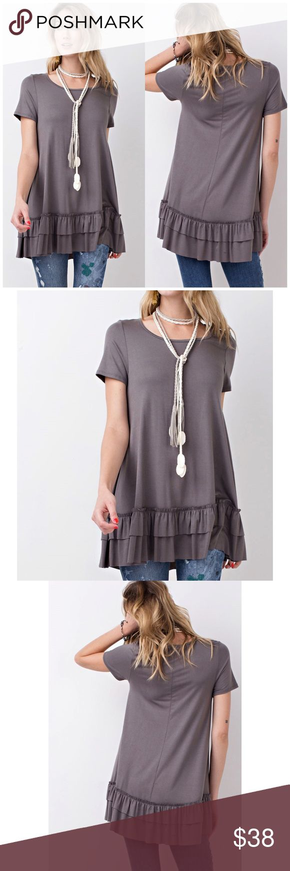 Purple Taupe Double Ruffle Tunic Top Short sleeves round neck. Soft heavy rayon/ spandex material. Loos fit flow tunic with double ruffle. 95% rayon, 5% spandex. Fits true to size   Follow us on Instagram @b_chic_boutique For awesome perks! B Chic Boutique Tops Tunics