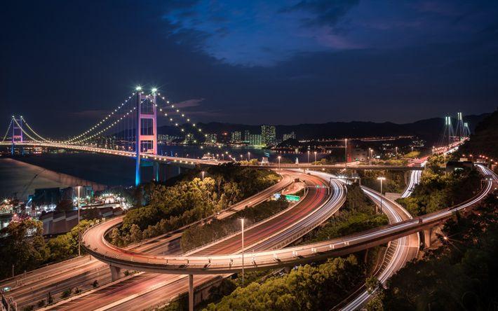 Download wallpapers Tsing Ma Bridge, Hong Kong, city lights, night, road junction, modern architecture, Ma Wan Channel, China
