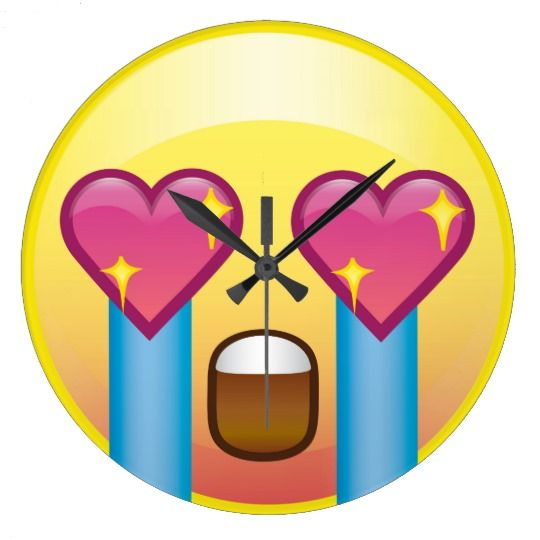 Fangirl Excited Crying Love Happy Emoji Wall Clock