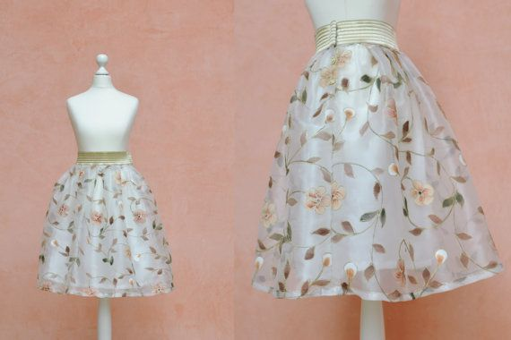 This skirt is a very beautiful and unique clothing, one of a kind, suited for daily ceremonies, weddings or for a very special day. It is very delicate and bright: the fabric has a pattern of pastel colors painted flowers and leaves and the golden embroidery along the stems.  www.mevrian.it SHEER FLOWER SKIRT 50s style 50s skirt pleated by MEVRIANhandmade