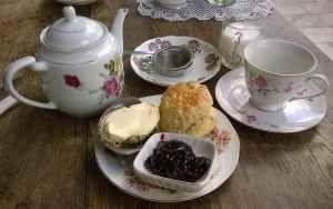 Loose leaf Earl Grey tea, plain scone, clotted cream, and blackcurrant jam comprising the Devon cream tea at the Hidden Treasure Tea Room in Exeter.