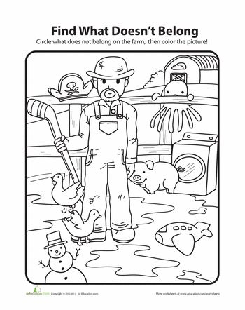 Worksheets: What Doesn't Belong: Farm
