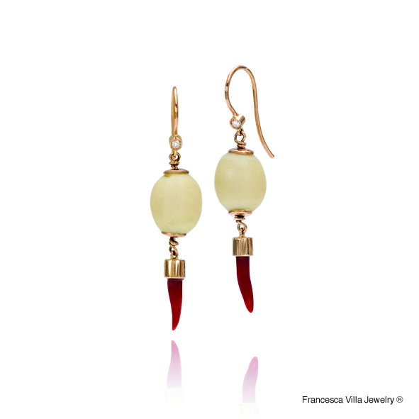 My Lucky Day Earrings in gold, diamonds, red coral,vintage bone beads.