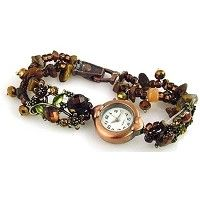 brown floral slider bead bracelet design