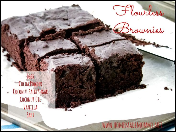Dense and gooey Flourless Brownies (seriously - the only flour is cocoa powder - eureka!) that don't use any refined sugars!