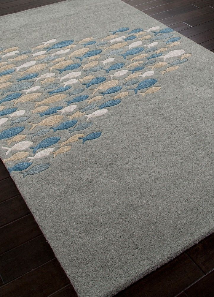 Silver Light Blue Go Fish Wool Area Rug Coastal Decorcoastal