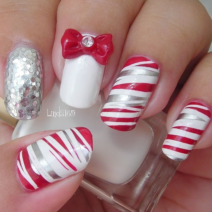 Candy Cane Can - Can (by China Glaze) Tutorial: http://youtu.be/4D9q9behaPo