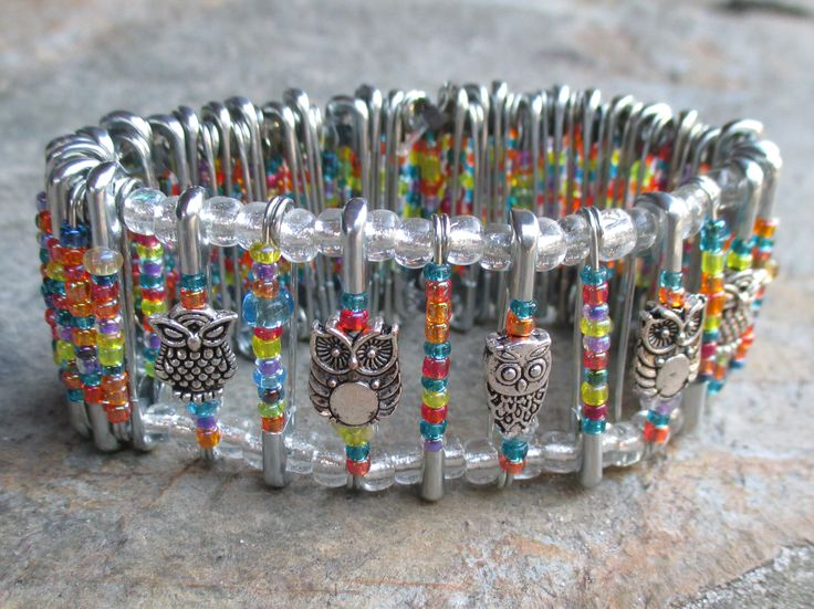 Bracelet made from safety pins, seed beads, and owl findings.