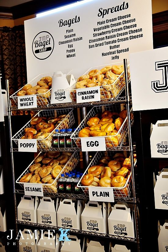 Say Goodbye With a BagelBar! Each guest gets bagels to take home for the next morning. What a great idea! #barmitzvah #batmitzvah