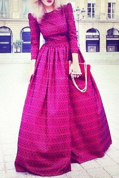 Print Boat Neck 3/4 Sleeve Maxi Dress